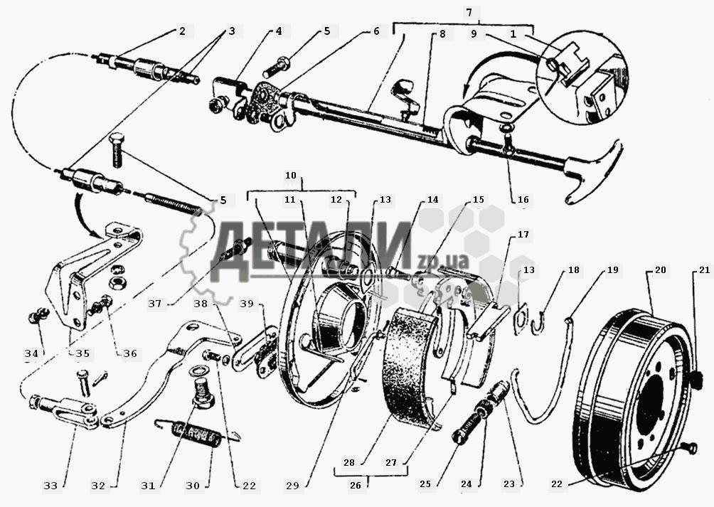 Центральный тормоз и управление центральным тормозом (44) .