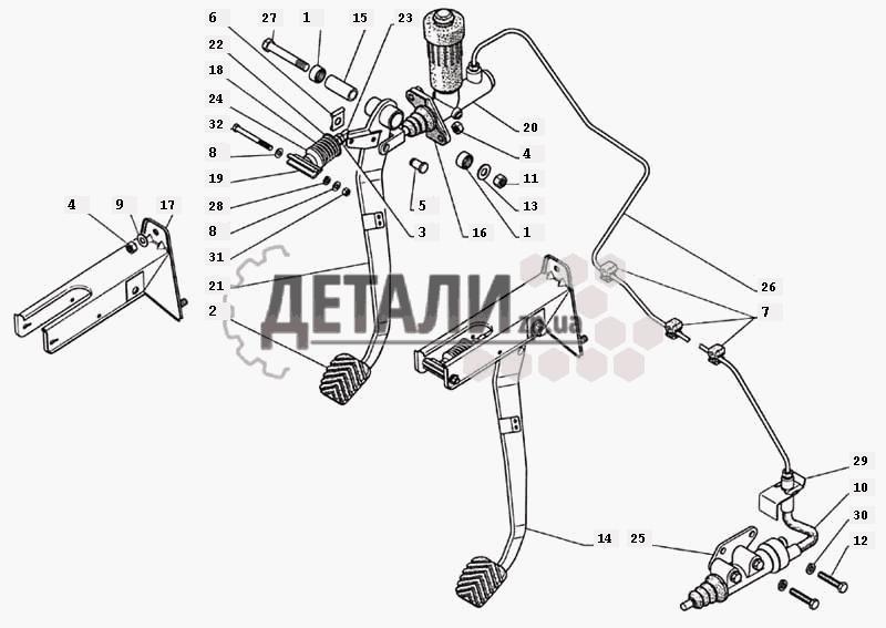 Привод выключения сцепления, главный и рабочий цилиндры, педаль сцепления (017) .