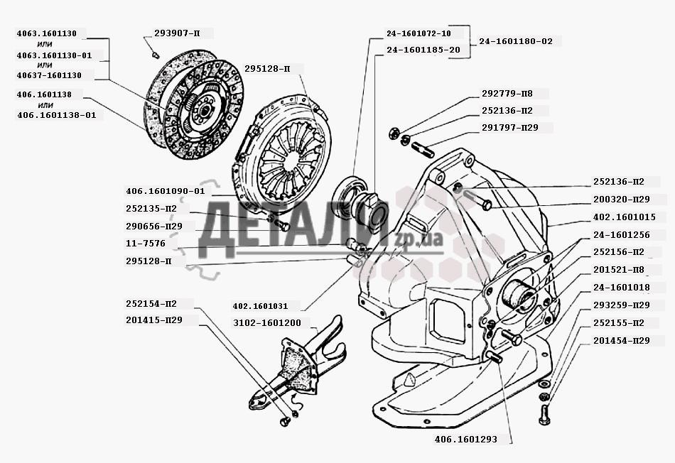 Сцепление двигателей ЗМЗ-402 (032) .