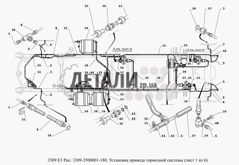 Тормозная система газ 3309 схема