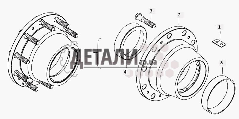 Ступица заднего колеса с болтами (180) .
