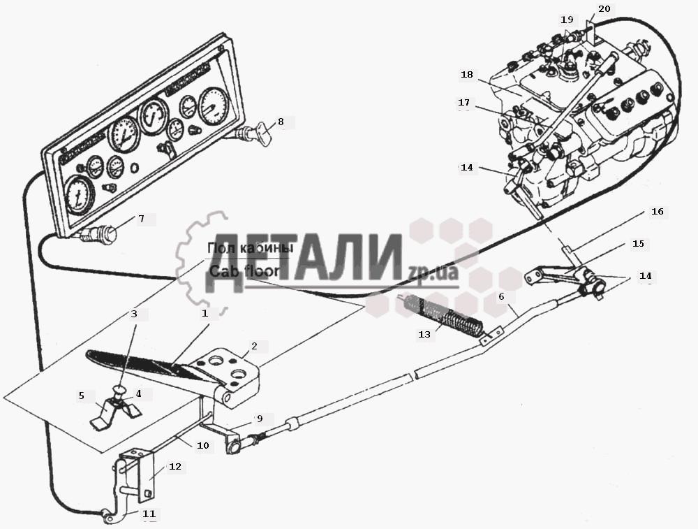 Запчасти КамАЗ-6520.  Установка управления подачи топлива.