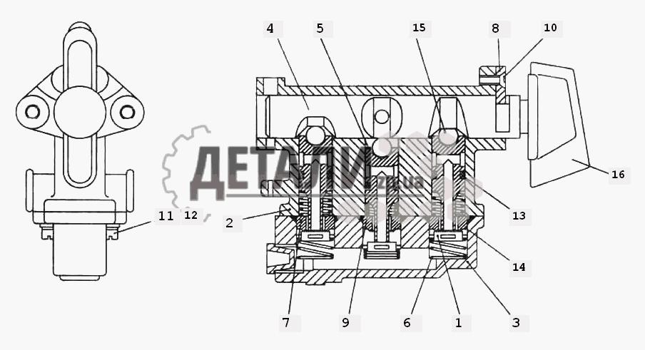 Кран управления раздаточной коробки (153) .