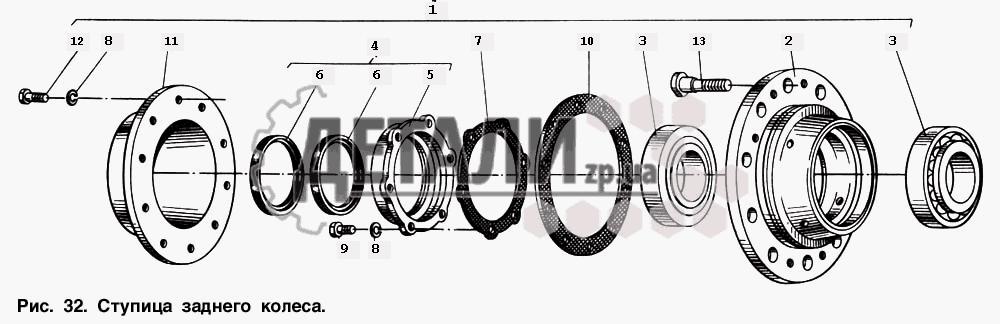 Ступица заднего колеса (33) .
