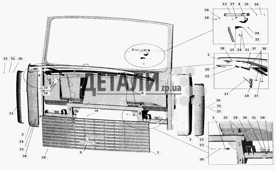 Схема - Установка облицовки и боковых щитков МАЗ-5432.