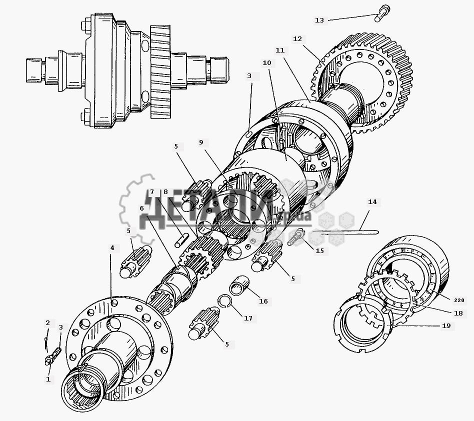 Дифференциал межосевой раздаточной коробки автомобиля МАЗ-509А (056) .