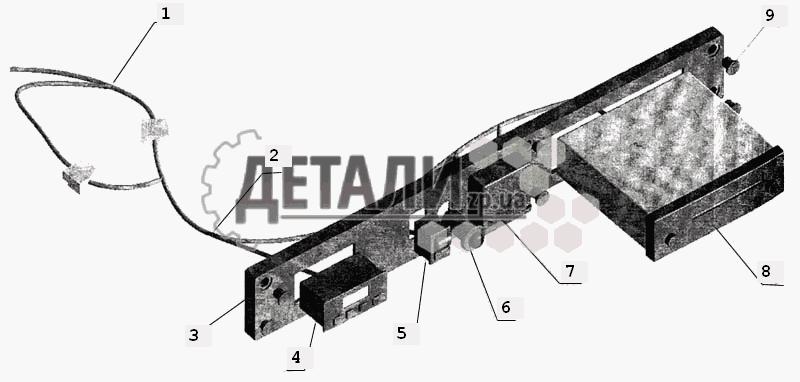 Установка электрооборудования на полке МАЗ-643068.