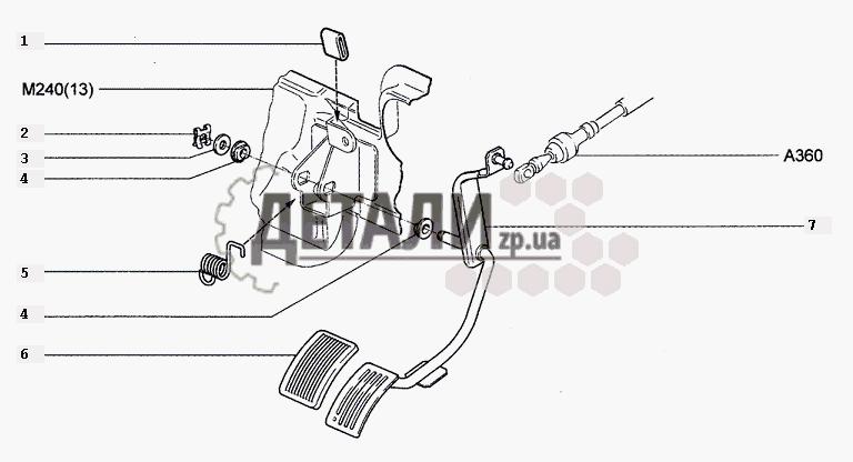 Педаль привода акселератора (21) .