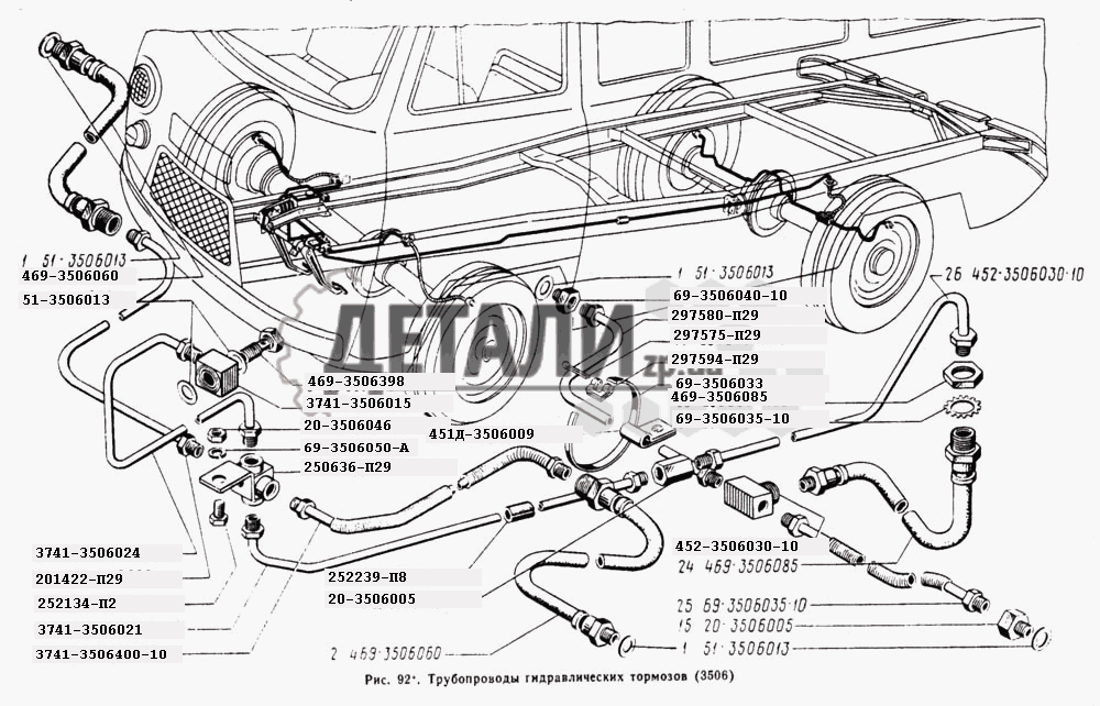 Трубопроводы гидравлических тормозов (92) .