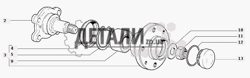 Ступицы задних колес (68) .