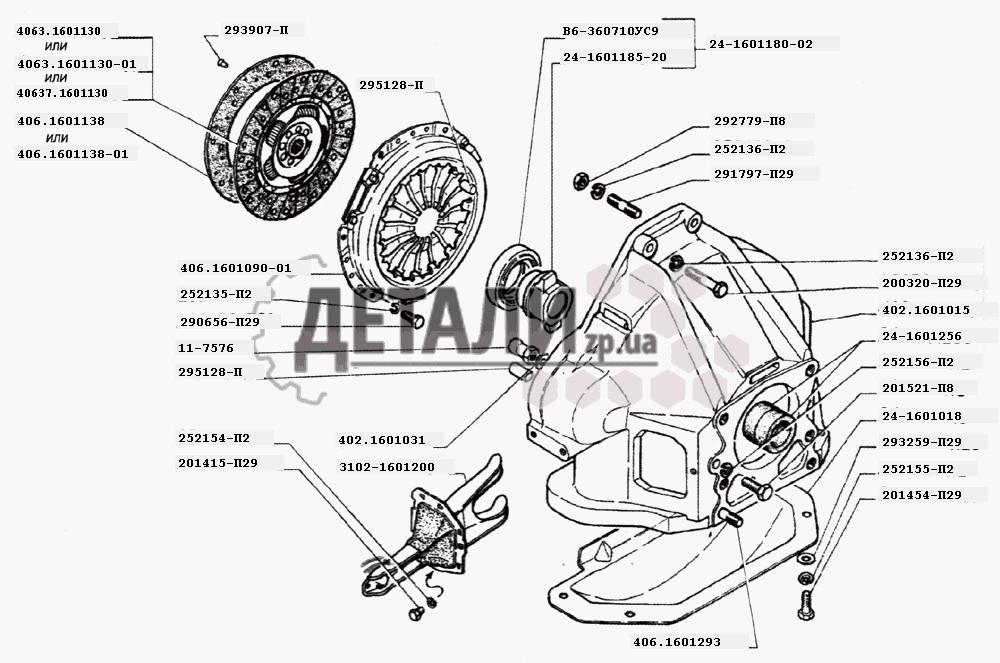 Сцепление двигателей ЗМЗ-402