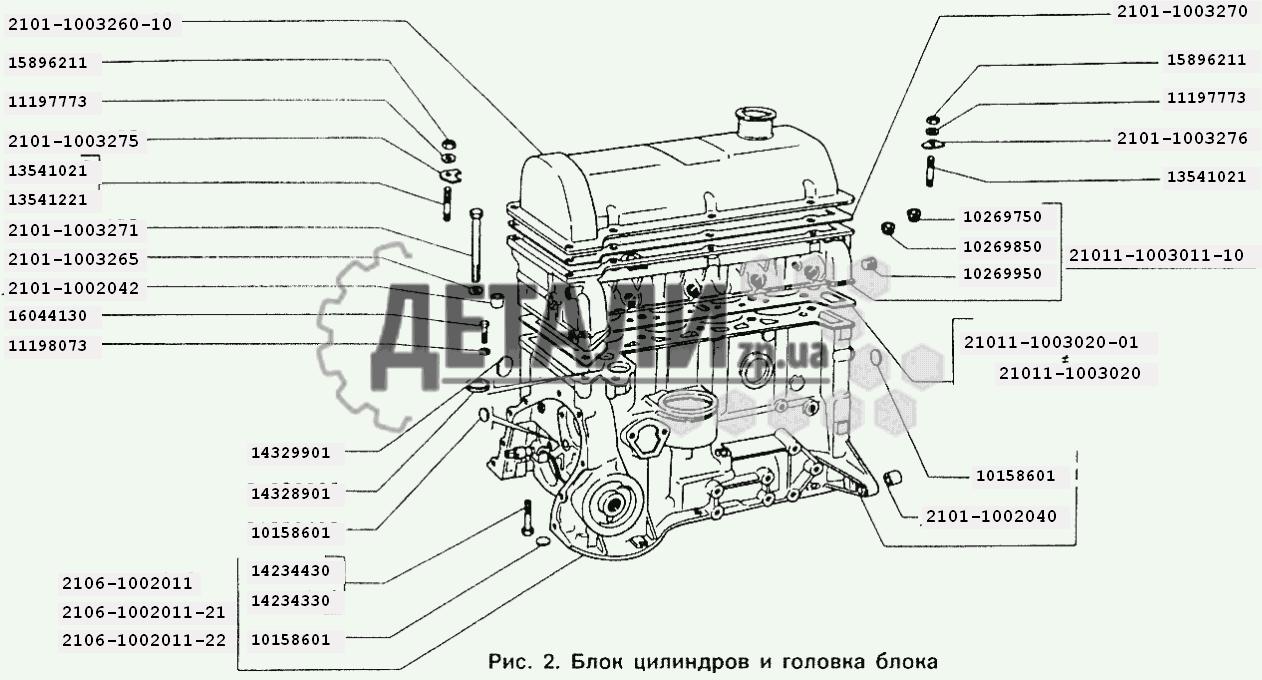схема двигателя, ваз 2106.