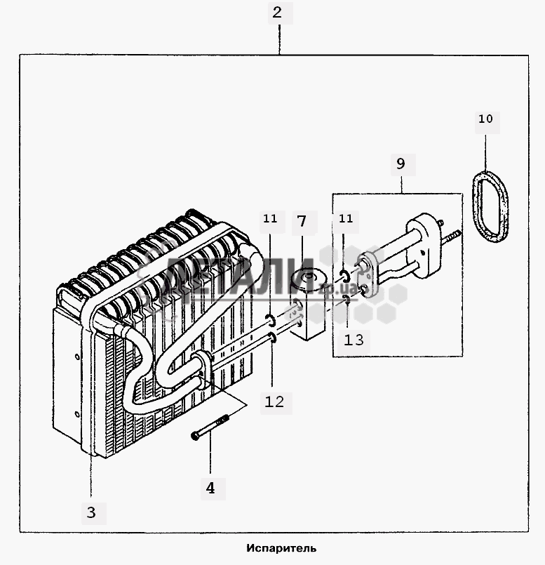Теплообменник испарителя кондиционера ланос встроенный регистр-теплообменник