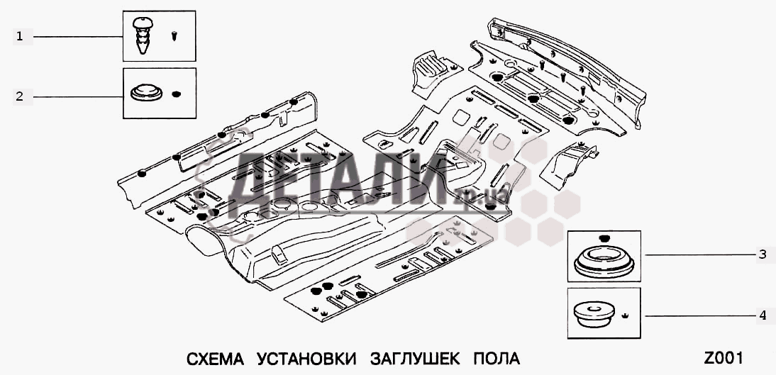Схема установки заглушек (Z)