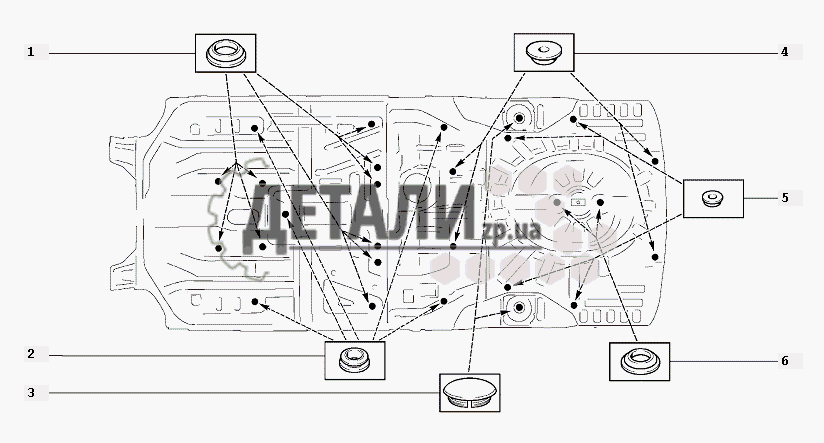 Схема установки заглушек Z101
